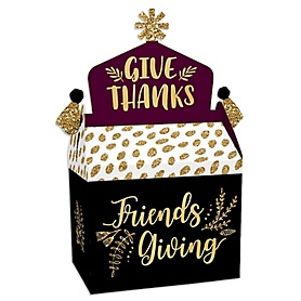Elegant Thankful for Friends - Treat Box Party Favors - Friendsgiving Thanksgiving Party Goodie Gable Boxes - Set of 12