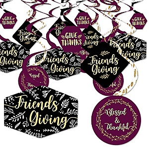 Elegant Thankful for Friends - Friendsgiving Thanksgiving Party Hanging Decor - Party Decoration Swirls - Set of 40
