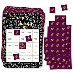 Elegant Thankful for Friends - Bingo Cards and Markers - Friendsgiving Thanksgiving Party Bingo Game - Set of 18