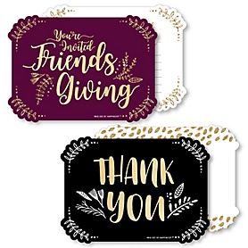 Elegant Thankful for Friends - 20 Shaped Fill-In Invitations and 20 Shaped Thank You Cards Kit - Friendsgiving Thanksgiving Party Stationery Kit - 40 Pack