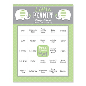 Baby Elephant - Bingo Personalized Baby Shower Games - 16 Count