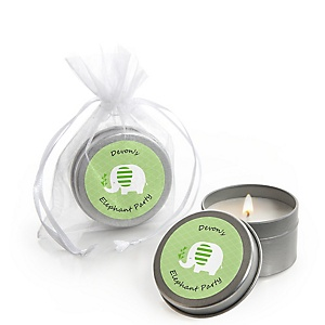 Green Elephant - Personalized Baby Shower or Birthday Party Candle Tin Favors - Set of 12