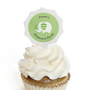 Green Elephant - Cupcake Picks with Personalized Stickers - Baby Shower or Birthday Party Cupcake Toppers - 12 ct