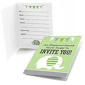 Green Elephant - Fill In Baby Shower or Birthday Party Invitations - 8 ct