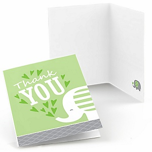 Green Elephant - Baby Shower or Birthday Party Thank You Cards - 8 ct