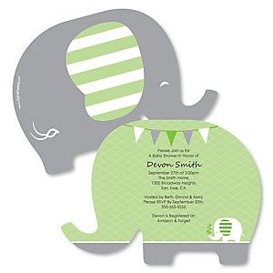 Green Elephant - Shaped Baby Shower or Birthday Party Invitations - Set of 12