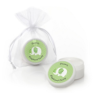 Green Elephant - Personalized Baby Shower or Birthday Party Lip Balm Favors - Set of 12