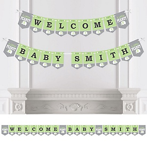 Green Elephant - Personalized Baby Shower or Birthday Party Bunting Banner & Decorations