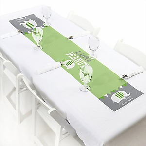 "Green Elephant - Personalized Petite Baby Shower or Birthday Party Paper Table Runner - 12"" x 60"""