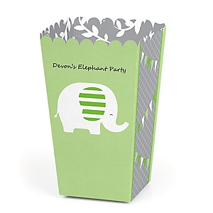 Green Elephant - Personalized Baby Shower or Birthday Party Popcorn Favor Treat Boxes - Set of 12