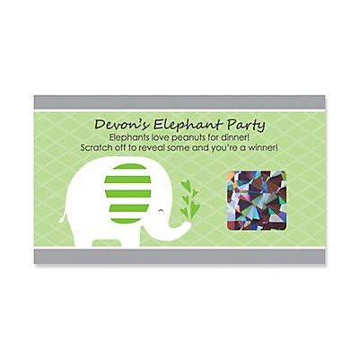 Green Elephant Personalized Baby Shower Or Birthday Party Scratch