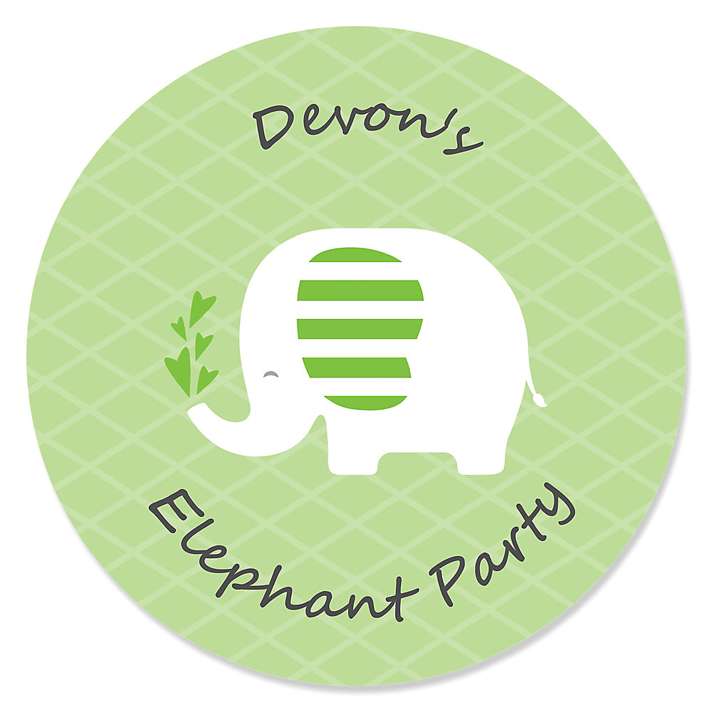 Green Elephant Personalized Baby Shower Or Birthday Party Sticker