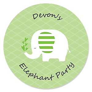 Green Elephant - Personalized Baby Shower or Birthday Party Sticker Labels - 24 ct