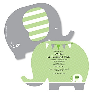 Green Elephant - Shaped Birthday Party Invitations - Set of 12