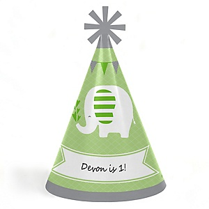 Green Elephant - Personalized Cone Happy Birthday Party Hats for Kids and Adults - Set of 8 (Standard Size)