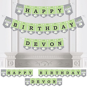 Green Elephant - Personalized Birthday Party Bunting Banner & Decorations