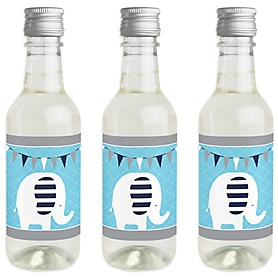 Blue Elephant - Mini Wine and Champagne Bottle Label Stickers - Boy Baby Shower or Birthday Party Favor Gift for Women and Men - Set of 16