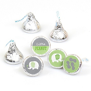 Green Elephant - Baby Shower or Birthday Party Round Candy Sticker Favors - Labels Fit Hershey's Kisses (1 sheet of 108)