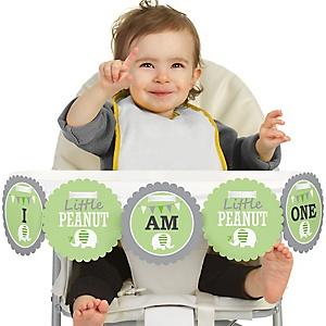 Green Elephant 1st Birthday - I am One - First Birthday High Chair Birthday Banner