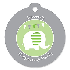 Green Elephant - Personalized Baby Shower or Birthday Party Favor Gift Tags - 20 ct