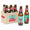 Elf Squad - 6 Kids Elf Christmas and Birthday Party Beer Bottle Label Stickers and 1 Carrier