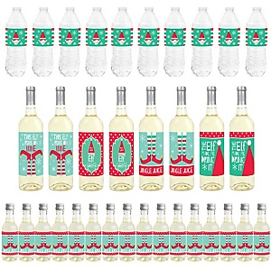 Elf Squad - Mini Wine Bottle Labels, Wine Bottle Labels and Water Bottle Labels - Kids Elf Christmas and Birthday Party Decorations - Beverage Bar Kit - 34 Pieces