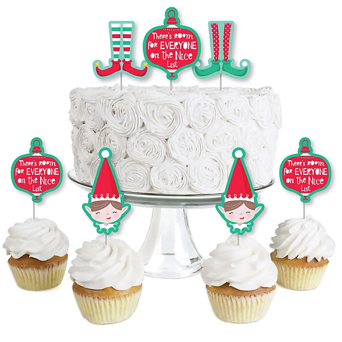 Elf Squad - Dessert Cupcake Toppers - Kids Elf Christmas and Birthday Party Clear Treat Picks - Set of 24