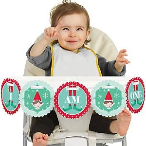 Elf Squad 1st Birthday - I am One - First Birthday High Chair Banner