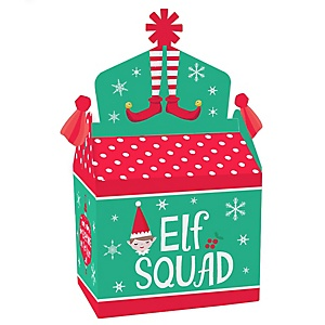 Elf Squad - Treat Box Party Favors - Kids Elf Christmas and Birthday Party Goodie Gable Boxes - Set of 12