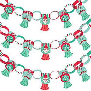Elf Squad - 90 Chain Links and 30 Paper Tassels Decoration Kit - Kids Elf Christmas and Birthday Party Paper Chains Garland - 21 feet
