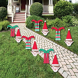 Elf Squad - Lawn Decorations - Outdoor Kids Elf Christmas and Birthday Party Yard Decorations - 10 Piece