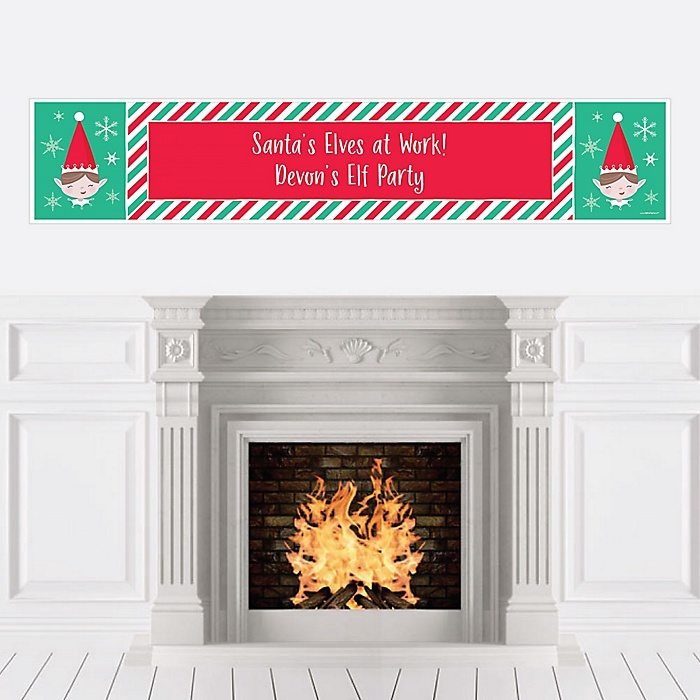 Elf Squad - Personalized Kids Elf Christmas and Birthday Party Banner