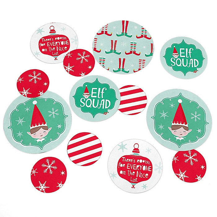 Elf Squad - Kids Elf Christmas and Birthday Party Giant Circle Confetti - Party Decorations - Large Confetti 27 Count