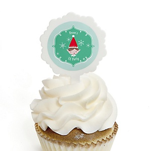 Elf Squad - Cupcake Picks with Personalized Stickers - Kids Elf Christmas and Birthday Party Cupcake Toppers - 12 ct