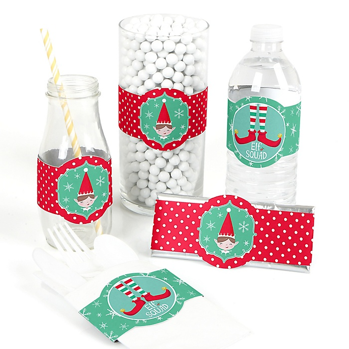 Elf Squad - DIY Party Supplies - Kids Elf Christmas and Birthday Party DIY Wrapper Favors and Decorations - Set of 15