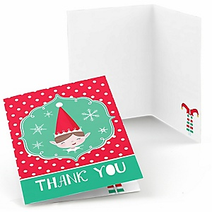 Elf Squad - Kids Elf Christmas and Birthday Party Thank You Cards  - 8 ct