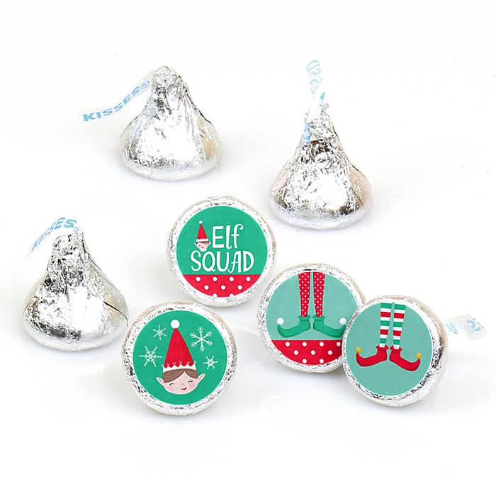 Elf Squad - Kids Elf Christmas and Birthday Party Round Candy Sticker Favors - Labels Fit Hershey's Kisses (1 sheet of 108)
