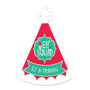 Elf Squad - Personalized Mini Cone Kids Elf Christmas and Birthday Party Hats - Small Little Party Hats - Set of 10