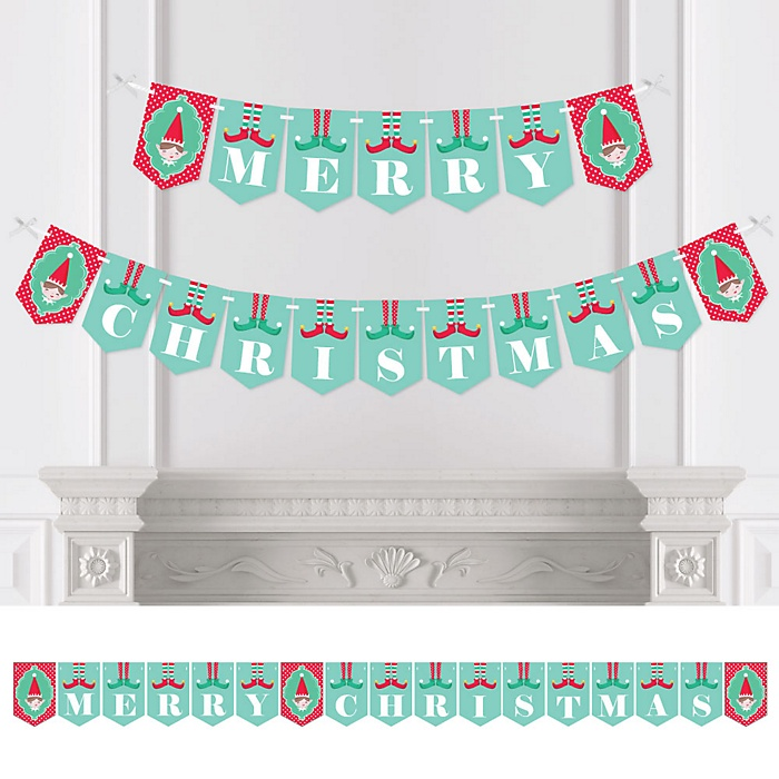 Elf Squad - Personalized Kids Elf Christmas and Birthday Party Bunting Banner & Decorations