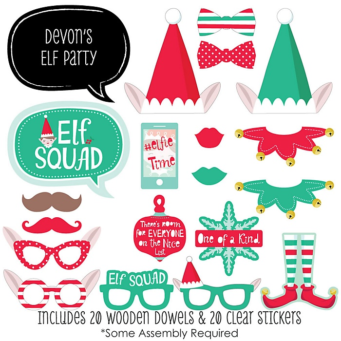 Elf Squad - 20 Piece Kids Elf Christmas and Birthday Party Photo Booth Props Kit