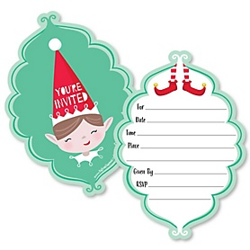 Elf Squad - Shaped Fill-In Invitations - Kids Elf Christmas and Birthday Party Invitation Cards with Envelopes - Set of 12