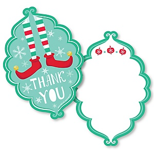 Elf Squad - Shaped Thank You Cards - Kids Elf Christmas and Birthday Party Thank You Note Cards with Envelopes - Set of 12