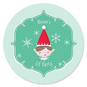 Elf Squad - Kids Elf Christmas and Birthday Party Sticker Labels - 24 Count