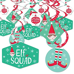 Elf Squad - Kids Elf Christmas and Birthday Party Hanging Decor - Party Decoration Swirls - Set of 40