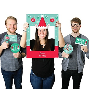 Elf Squad - Personalized Kids Elf Christmas and Birthday Party Selfie Photo Booth Picture Frame & Props - Printed on Sturdy Material