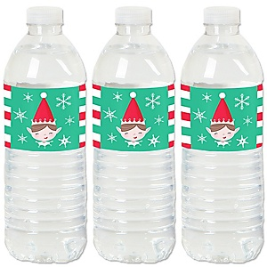 Elf Squad - Kids Elf Christmas and Birthday Party Water Bottle Sticker Labels - Set of 20