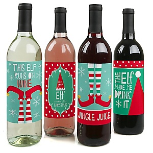 Elf Squad - Kids Elf Christmas and Birthday Party Decorations for Women and Men - Wine Bottle Label Stickers - Set of 4