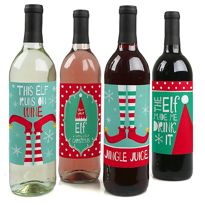 Elf Squad - Kids Elf Christmas and Birthday Party Wine Bottle Label Stickers - Set of 4