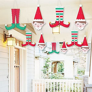 Hanging Elf Squad - Outdoor Kids Elf Christmas and Birthday Party Hanging Porch & Tree Yard Decorations - 10 Pieces