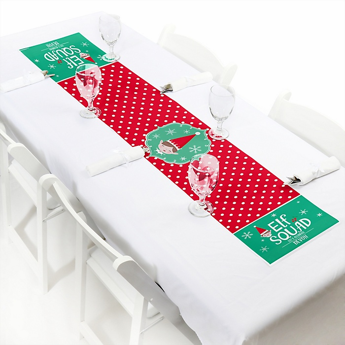 "Elf Squad - Personalized Petite Kids Elf Christmas and Birthday Party Table Runner - 12"" x 60"""